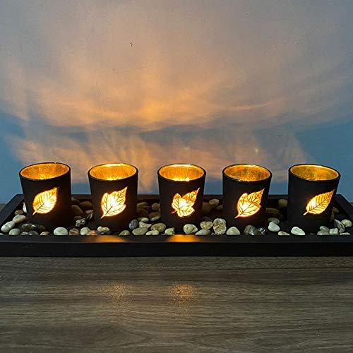 Candelabros Juego de bandejas decorativas para velas, Juego de candelabros decorativos con guijarros, Centro de mesa Candelero para mesa de centro Decoración de piezas