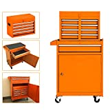 High Capacity 5-Drawer Rolling Tool Chest Portable Tool Box Organizer with Wheels and Drawers, Locking System, Garage Removable Tool Storage Cabinet (Orange)