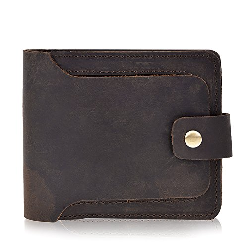 Vbiger Men's Vintage Genuine Leather Wallet Handmade Bifold Card Holder (Brown)