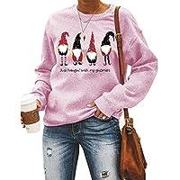 女性のクリスマススウェットシャツ、ちょうど私のノーミーとぶら下がっている-かわいい面白いグラフィックTシャツ-クルーネックプルオーバートップス (色 : G, Size : L-large)