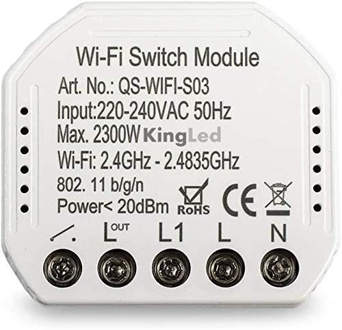 Kingled – Intelligentes Switch Modul zur Umwandlung einer Lichtschaltung mit Schalter in Smart WiFi – kompatibel mit Alexa, Google und Smartphone