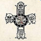 szhao Reloj de Pared de Vinilo Vintage Reloj de Pared de Vinilo Guns N Roses Rock Band Decoración Reloj de Pared Reloj de Regalo