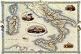 Vintage-Metallschild – Karte von Süditalien und