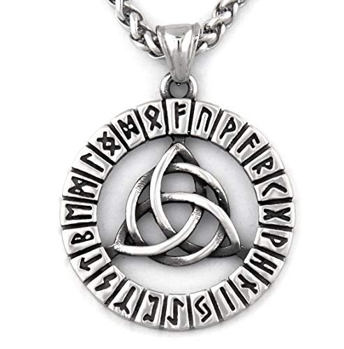 Warvik Irish Triquetra Celtic Rune Necklace, Infinity Pendant, Stainless Steel Jewelry Mens Womens Wheat Chain 20/28inch