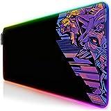TITANWOLF - Alfombrilla de ratón Gaming RGB - Mouse Pad 800x300 mm - LED Multicolor 7 Colores - 4 Modos de Efectos - Mejora Precisión y Velocidad - Superficie Inferior de Goma – Motivo Vector Retro