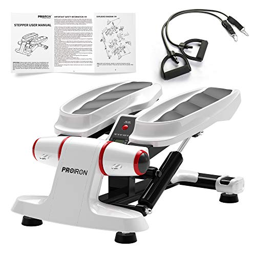 PROIRON up-down Stepper mit Multifunktionsdisplay, Mini-Fitnessgeräten, Heimtrainer, Fitnesstraining für zu Hause, Swing Stepper für Bein- und Po-Training, Pedalmaschine,Weiß Rot