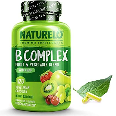 NATURELO B-Complex - with All 8 Essential Natural B Vitamins Including Vitamin B6, Folate, B12 and Biotin – Also Includes Fruit and Vegetable Extracts - 120 Vegan Capsules US