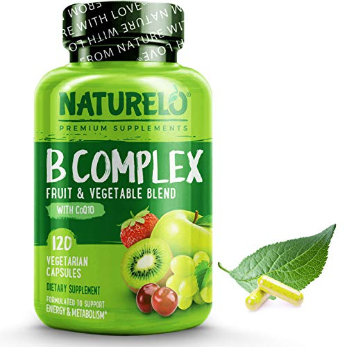 NATURELO B Complex - Whole Food - with Vitamin B6, Folate, B12, Biotin - Vegan - Vegetarian - Best Natural Supplement for Energy and Stress - High Potency - Non GMO - Gluten Free - 120 Capsules