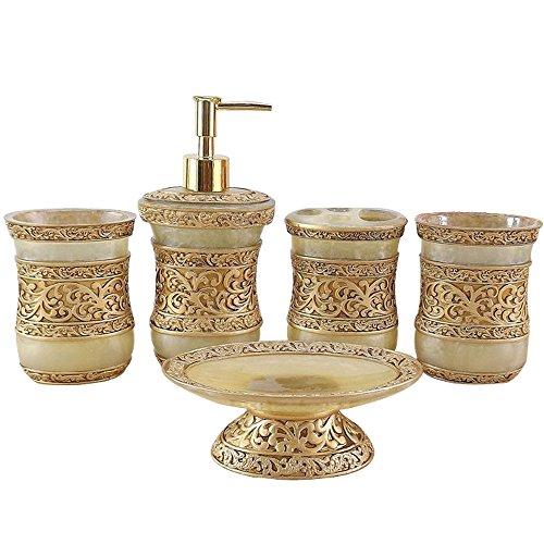 LUANT Resin 5PC Bathroom Accessories Set Soap Dispenser/Toothbrush Holder/Tumbler/Soap Dish