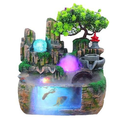 Zimmerbrunnen Indoor Brunnen Wasserfall Tischbrunnen Dekoration Wasserspiel Mit Farbwechsel Led Beleuchtung Zen Meditation Wasserfall Fur Büro Schlafzimmer Yoga Meditation (02)