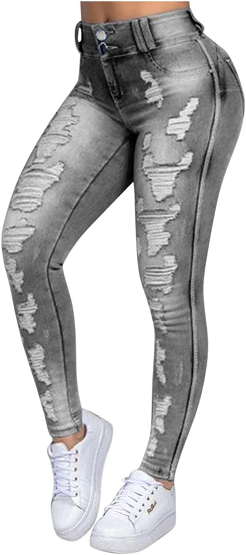FUNEY Jeggings Jeans Leggings Pants for Women Bottom Casual Comfy Slim Fit Denim Skinny Stretch Ripped Denim Pants Plus Size