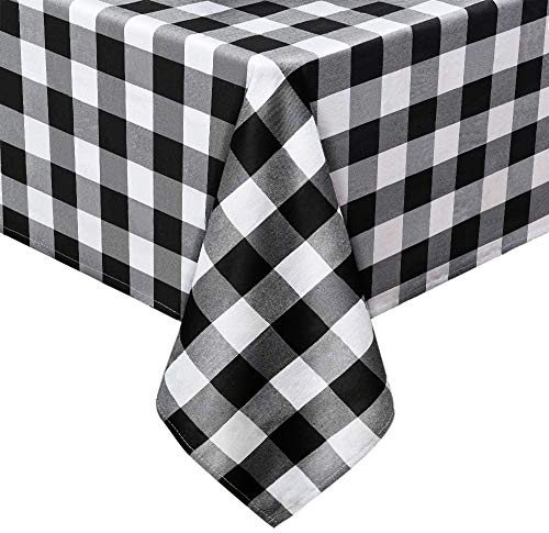 Plaid Tablecloth Black and White Buffalo Checkered Tablecloth 56x120 inch Rectangle for Christmas Outdoor Picnic Holiday Dinner