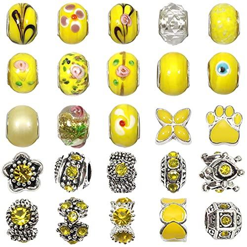 TOAOB 50 Piezas Amarillo 14 mm Abalorios Europeos de Plata Antigua Tibetana Esmaltada Cuentas de Aleación Estrás Cristal Perlas Espaciadoras para Fabricación de Joyas Pulseras y Cadena de Serpiente