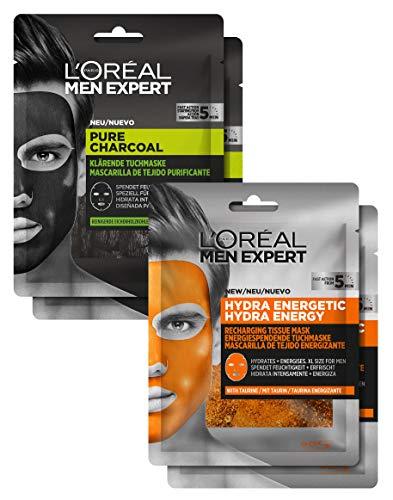 L'Oréal Men Expert Maskenset, Pflegeset für Männer mit reinigenden und feuchtigkeitsspendenden Gesichtsmasken, aktiver Schutz gegen Pickel und Mitesser, 164 g