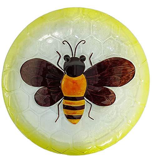 Comfy Hour Bird Meets Garden Bath Collection 18' Metal Art Bee Glass Top Birdbath Birdfeeder Garden...