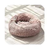 長いぬいぐるみスーパーソフト犬のベッドペット犬小屋ラウンド寝袋ラウンジャーキャットハウス冬暖かいソファバスケット小中大犬、11、L直径70Cm
