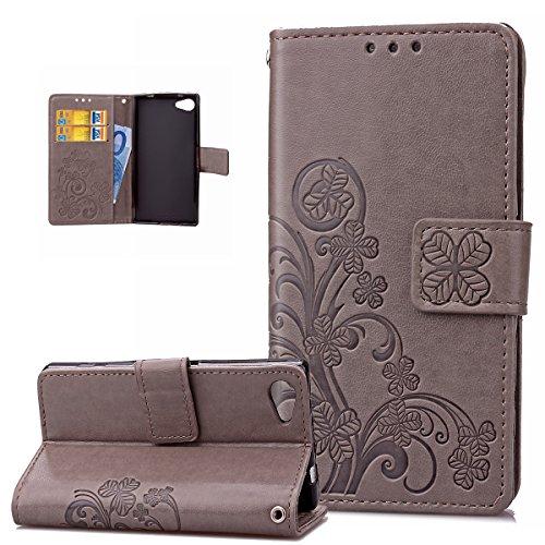 ikasus Coque Sony Xperia Z5 Compact Etui Gaufrage Trèfle Fleur Motif Housse Cuir PU Housse Etui Coque Portefeuille Protection supporter Flip Case Etui Housse Coque pour Sony Xperia Z5 Compact,Gris