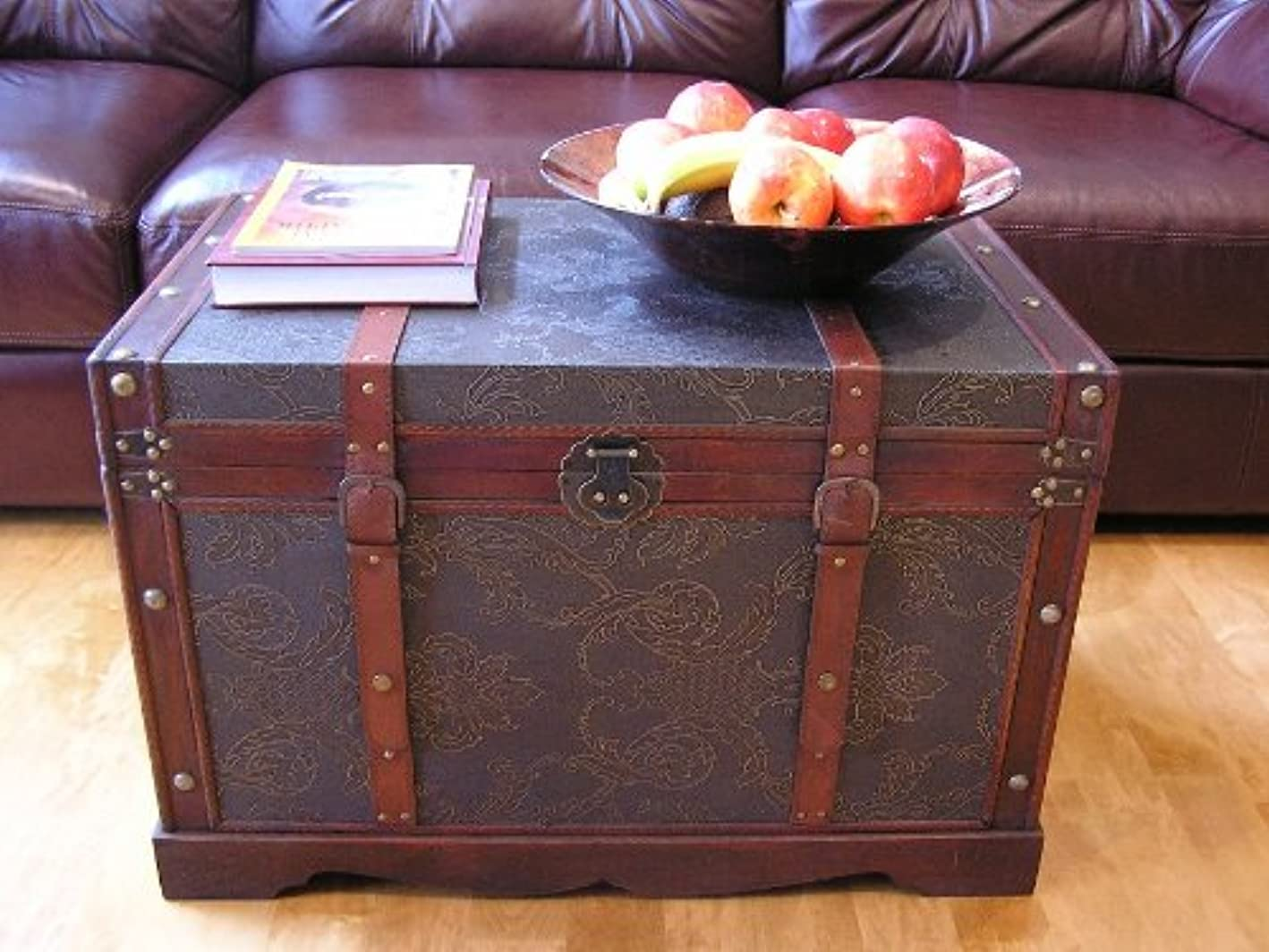 Saratoga Faux Leather Chest Wooden Steamer Trunk Set - Two Trunks