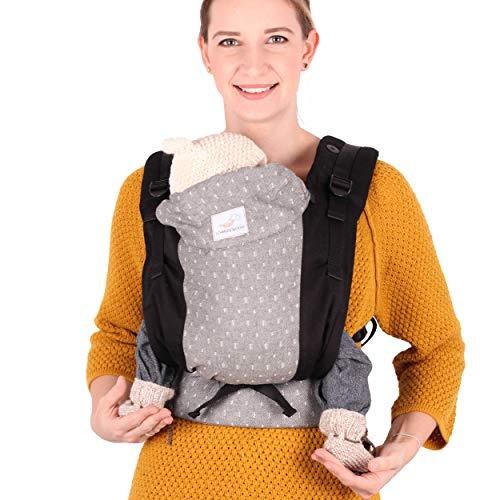 SCHMUSEWOLKE Family FullBuckle Babytrage Natur Neugeborene und Kleinkinder Baumwolle Babysize 0-12 Monate 3-12 kg Bauch-und Rückentrage