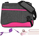 Wave Anti-Theft Magenta Messenger Bag for Apple MacBook 12inch + Audio Splitter & Ear bud's with Mic