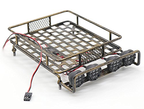 WishRing RC 1:10 Roof Luggage Rack LED Light Bar Wrangler Tamiya CC01 SCX10 Axial 515 (Coppery)