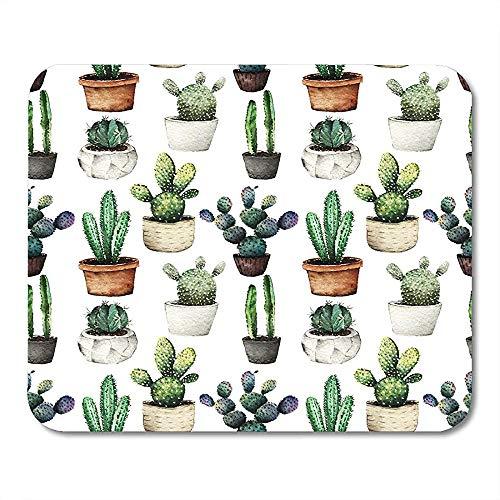 Mausepad Botanischer Grüner Arizona-Kaktus In Töpfen Aquarell Von Pflanzen Für Sie Weißlichtblüte Botanik Gedrucktes Mousepad-Spiel Mousepad Spezielle Mausmatte 25 X 30 Cm Büro Ru