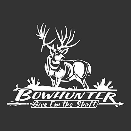 Bowhunter Mule Deer Hunting Automotive Window Decal (White)