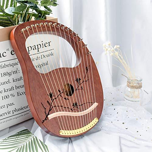 Lyre Harp 16-String aus Holz Metallsaiten Mahagoni Massivholz Saiteninstrument mit Tragetasche Tuning Schlüssel String Geschenk für Anfänger Music Lovers Kinder Erwachsene,Coffee Plum