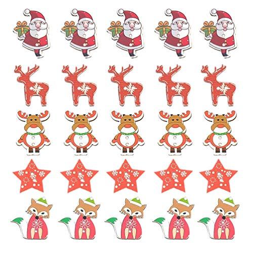 Amosfun - 50 botones de madera de Papá Noel con forma de estrella, rodajas de madera, diseño de reno y zorro, para niños, decoración de mesa, para manualidades, costura, scrapbooking, regalo DIY