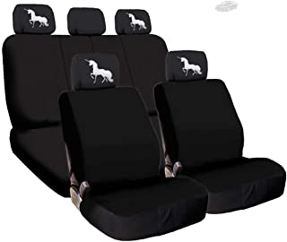 Yupbizauto New Black Flat Cloth Universal Fit Car Seat Covers with Embroidery Logo Headrest Covers Support 60/40 Split Seats (Unicorn)