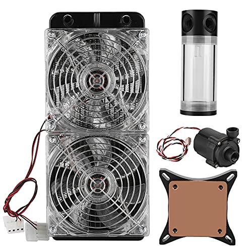 Kit de refrigeración por agua para PC, ventilador dual 240 Sistema de refrigeración de la caja de la computadora PC de escritorio para bricolaje Equipo de refrigeración por agua del radiador del radia
