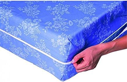 Housse De Matelas Intégrale   Dimensions   160 X 200   Coloris Aléatoire  Bleu Ou Blanc
