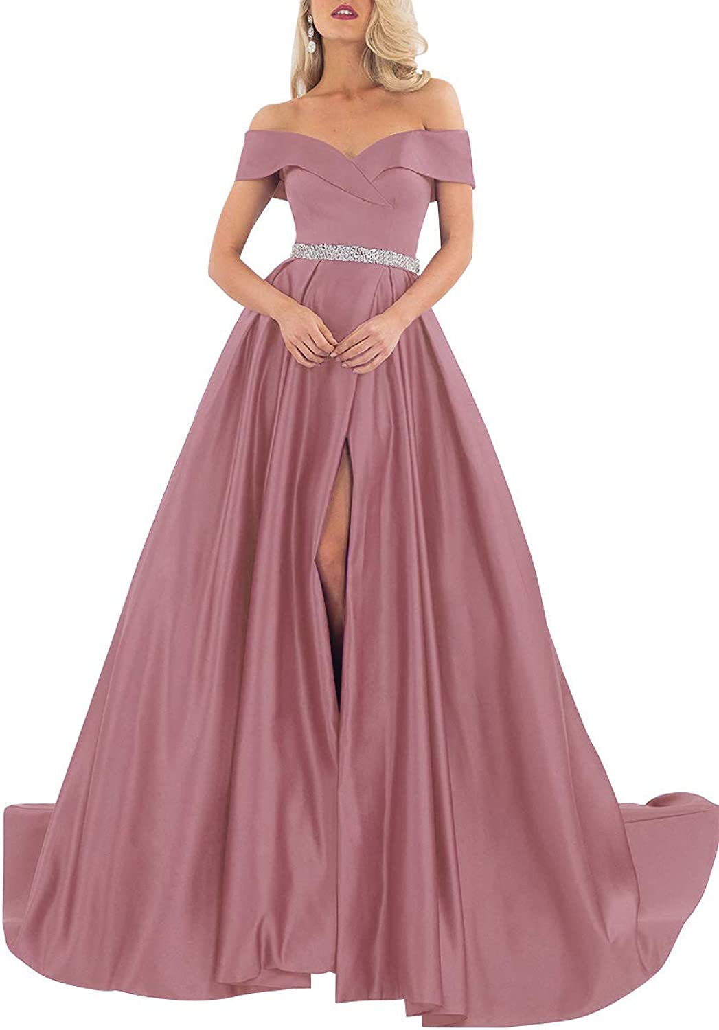 Beaded Prom Gowns Off Shoulder Satin Long Evening Party Dresses with Slit