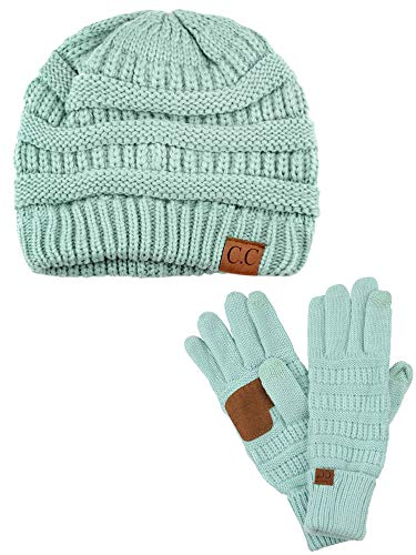 C.C Unisex Soft Stretch Cable Knit Beanie and Anti-Slip Touchscreen Gloves 2 Pc Set, Mint