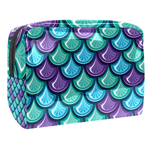 Cosmetic Organizer Mermaid Scale Blue Travel Makeup Beauty Bag Portable Toiletry Bag Multifunction for Women Girls 18.5x7.5x13cm