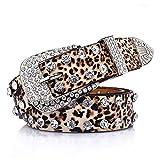 """Leopard Print PU Leather Belts for Women Luxury Rhinestones Pin Buckle Women belt Female Strap for Jeans Dress 43"""""""