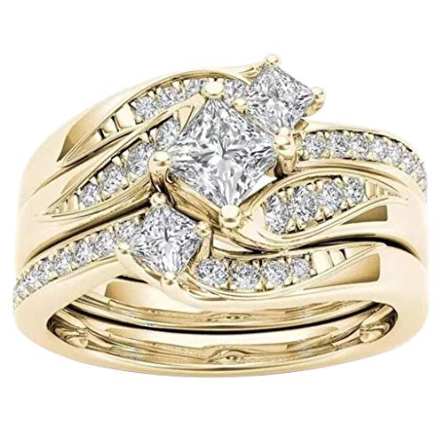 Cotonie Women Round Diamond Ring Rhinestone Wedding Band Anniversary Rings Valentine's Day Gift Accessory (Gold, 9)