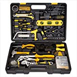 CARTMAN Yellow 218Piece Tool Set General Household Hand Tool Kit with Plastic Toolbox Storage Case