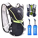 TRIWONDER Hydration Pack Backpack Professional 8L Outdoors Mochilas Trail Marathoner Running Race Cycling Hydration Vest (Black - with 2 Soft Water Bottles (350ml))