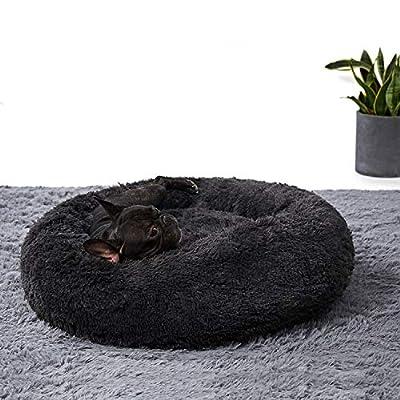 ANWA Washable Dog Round Bed Medium, Donut Dog Bed Small Dog, Plush Dog Calming Bed