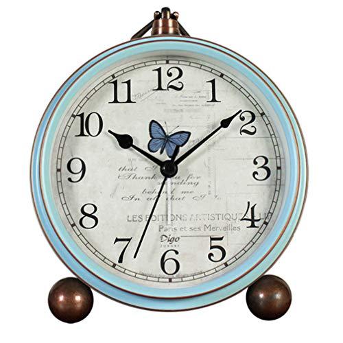 VORCOOL Reloj de escritorio decorativo estilo náutico de cuarzo, reloj despertador vintage analógico, funciona con pilas, para sala de estar, decoración de estante