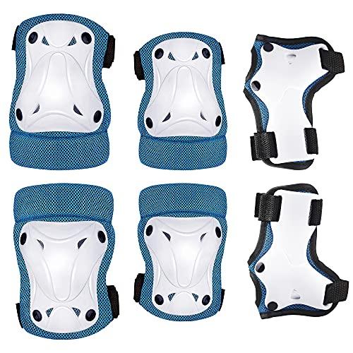 Protecciones Patinaje Infantil, 6 en 1 Kit de Equipo de Protección de Seguridad con Muñequeras, es Adecuado para Bicicleta Patinaje Ciclismo Monopatín y Deportes Extremos Blue