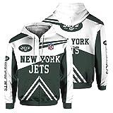 NFLSWER Vuelo 3D de la NFL con Capucha Traje - Chaqueta New York Jets Rugby Fan Unisex Suéter Primavera - Jersey de Ciclo Blanca Capa Encapuchada + Verde (Color : White+Green, Size : XXXL)
