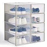 Hapilife - Scarpiera impilabile, in plastica trasparente, confezione da 8 scatole, unisex, 35,5 x 25,5 x 13,5 cm Grigio