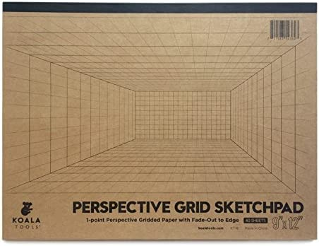 Koala Tools Room Grid 1 Point Large Sketch Pad 9 x 12 40 pp Perspective Grid Graph Paper for product image