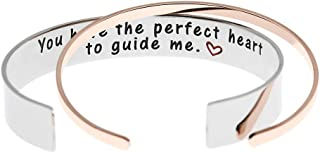 Ms. Clover Teacher Bracelet You Have The Perfect Heart to Guide Me Stainless Steel Godmother Cuff Baptism Sponsor Gift.