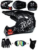LZSH Casco de moto casco de motocross profesional, casco de cross, MTB, casco infantil, casco con gafas/guantes/máscara, ECE homologado adultos niños quad bike ATV go-kart-helm (A,XL: 61-62 cm)