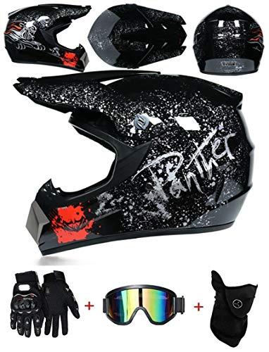LZSH Casco de moto casco de motocross profesional, casco de cross, MTB, casco infantil, casco con gafas/guantes/máscara, ECE homologado adultos niños quad bike ATV go-kart-helm (A,M: 57-58 cm)