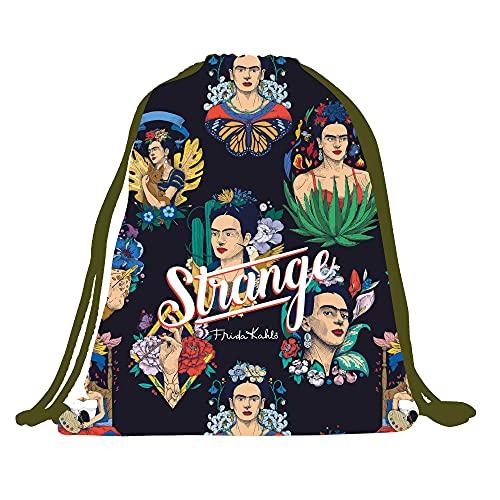 Frida Kahlo Mochila con cordón para llevar en la espalda y para cerrar. Complemento de moda mujer. Bolsa reutilizable y multiuso fabricada en España. Bolsa original con estampado Frida Strange.