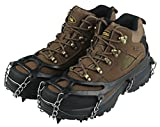 DSLERGO Non-Slip Shoes Cover Chain Ice Claws 8/11/19 Teeth Outdoor Ski Ice Snow Hiking Climbing Crampons Traction Device with Stainless Steel (Black, Large)